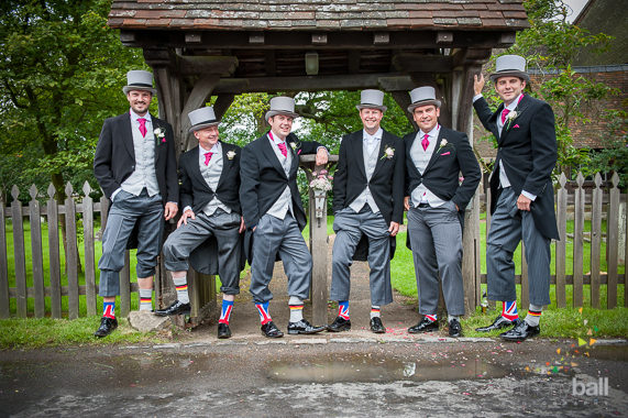 Photographing-the-grooms-party-Anglo-German wedding shown by the socks! Underriver Church, Kent