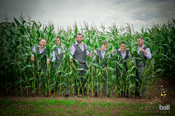 I couldn't resist using the maize field for a superb shot of the Groom's party. (Permission was granted by the farmer).