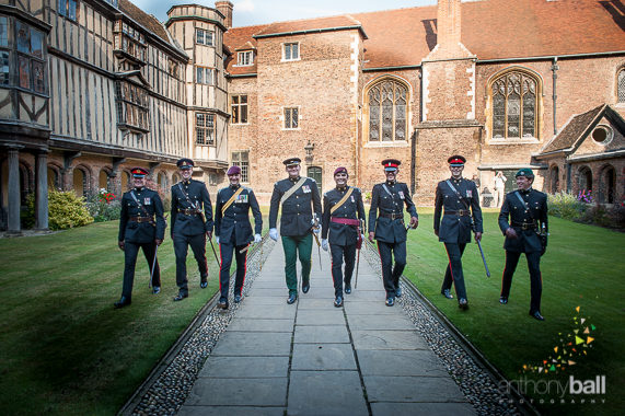 Military Groom's party at Queens' College Cambridge.