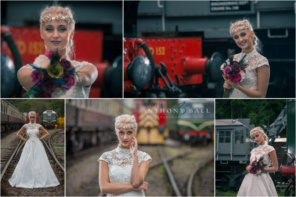 Railway wedding dress shoot